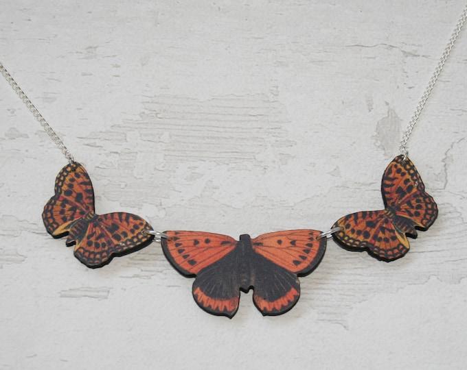 Orange Butterfly Necklace, Statement Necklace, Wood Pendant, Orange Butterfly Illustration, Woodland, Animal Necklace