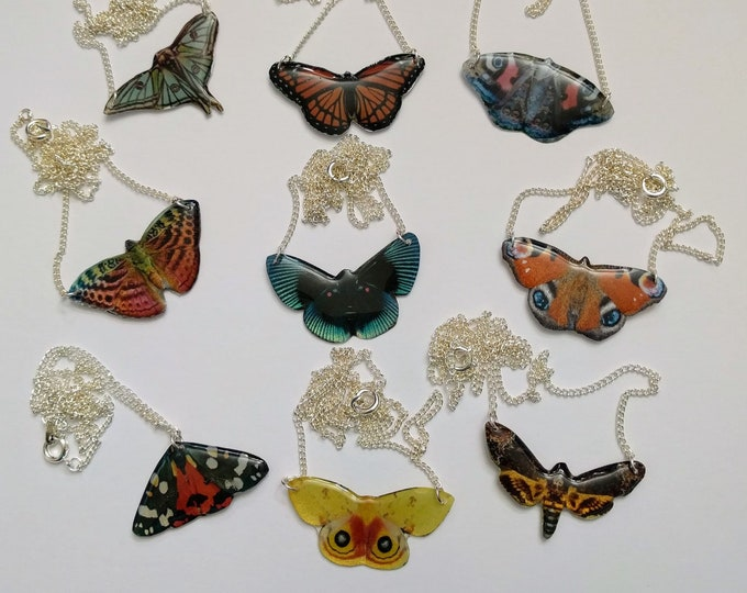 Small Butterfly Necklace, Resin Pendant, Butterfly Illustration, Woodland, Animal Necklace, Resin Jewelry