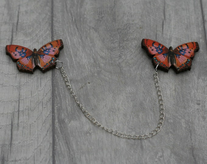 Orange Butterfly Collar Clips, Wooden Butterfly Accessory, Butterfly Illustration, Animal Brooch, Woodland, Wood Jewelry