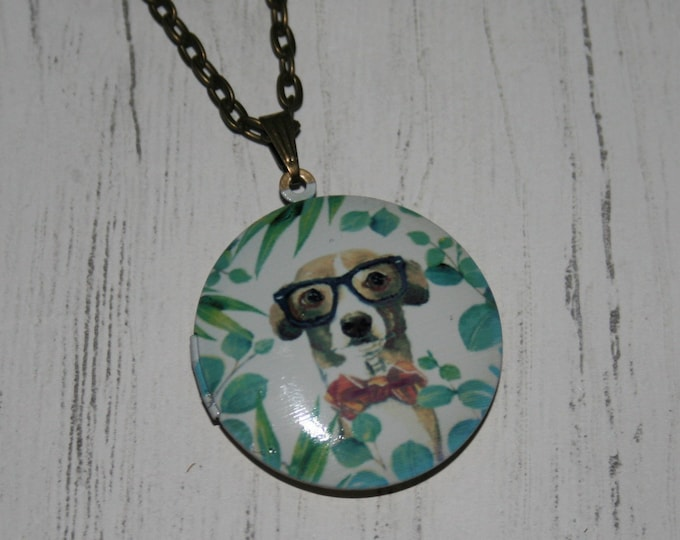Dog Locket Necklace, Puppy Necklace, Woodland Jewelry