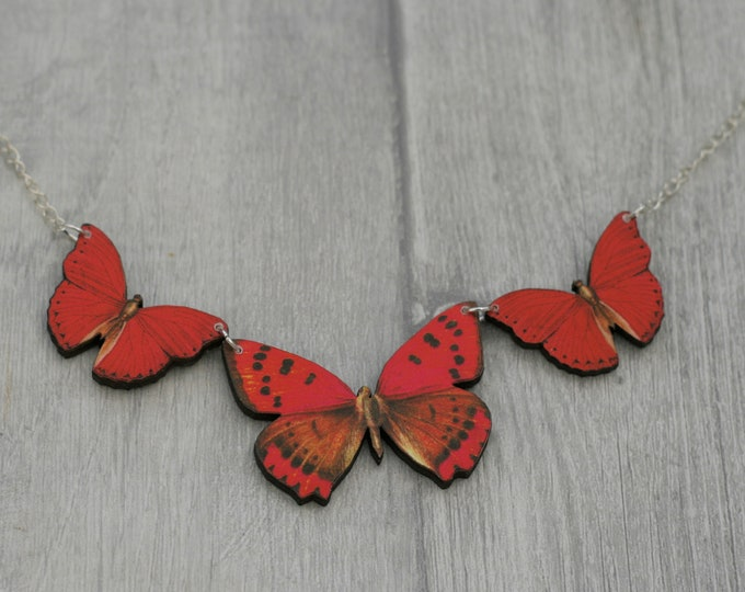 Red Butterfly Necklace, Statement Necklace, Wood Pendant, Red Butterfly Illustration, Woodland, Animal Necklace
