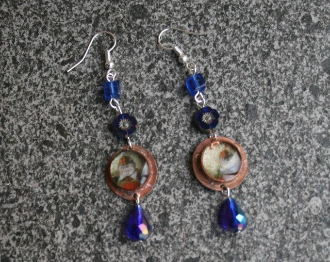 Alice in Wonderland Statement Earrings, Tweedle Dee and Tweedle Dum Jewelry
