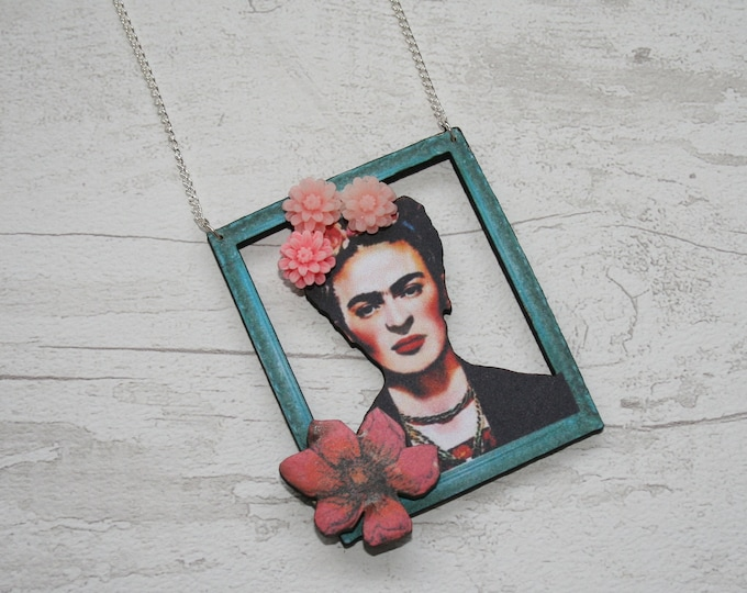 Teal Frida Statement Necklace, Frida Pendant