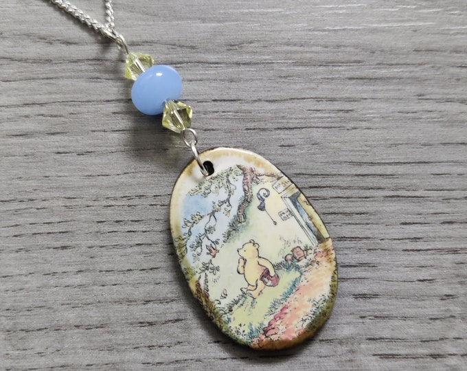 Winnie the Pooh Statement Necklace, A.A. Milne Pendant, Woodland, Animal Necklace
