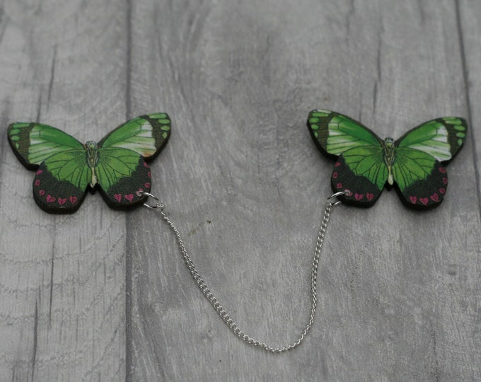 Green Butterfly Collar Clips, Wooden Butterfly Accessory, Butterfly Illustration, Animal Brooch, Woodland, Wood Jewelry
