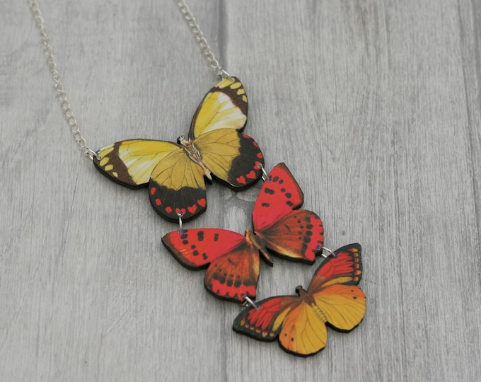 Red and Yellow Butterfly Necklace, Statement Necklace, Wood Pendant, Red and Yellow Butterfly Illustration, Woodland, Animal Necklace