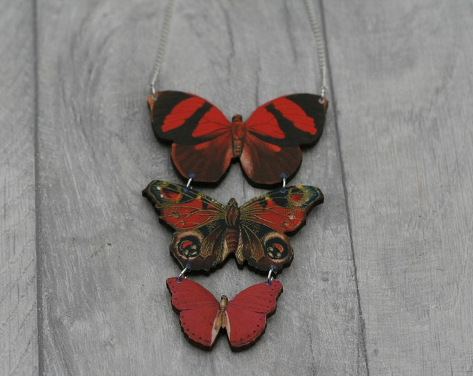 Red and Black Butterfly Necklace, Statement Necklace, Wood Pendant, Red and Black Butterfly Illustration, Woodland, Animal Necklace
