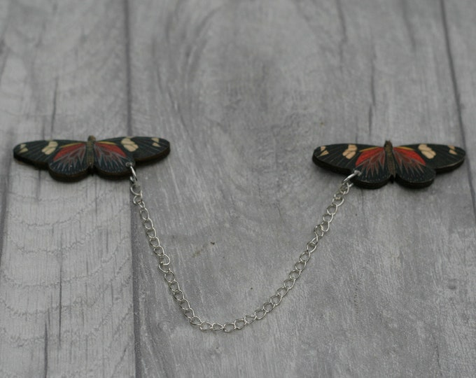 Black and Red Butterfly Collar Clips, Wooden Butterfly Accessory, Butterfly Illustration, Animal Brooch, Woodland, Wood Jewelry