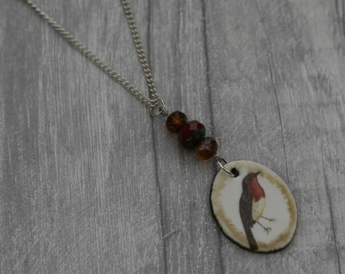 Rebin Statement Necklace, Bird Pendant, Woodland, Animal Necklace