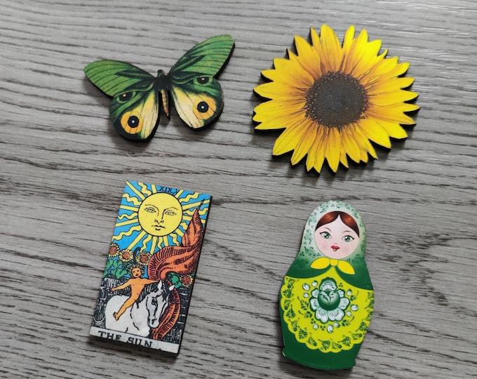 4 x Wooden Brooches - Butterfly, Sunflower, Russian Doll, Tarot Card