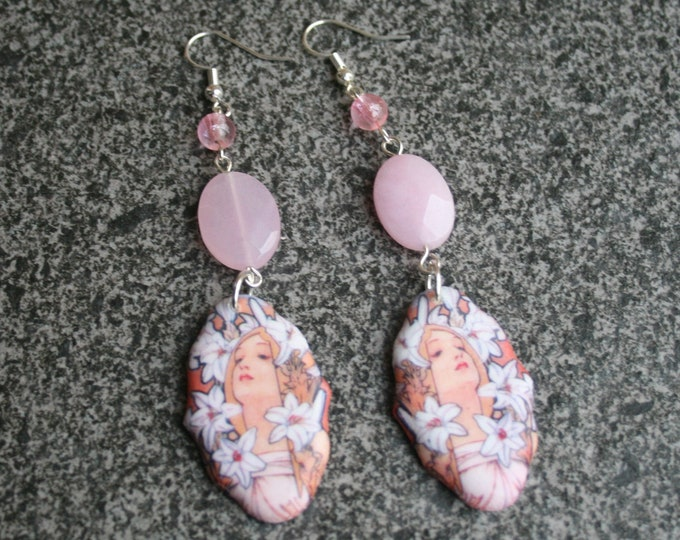 Pink Mucha Earrings, Flower Jewelry