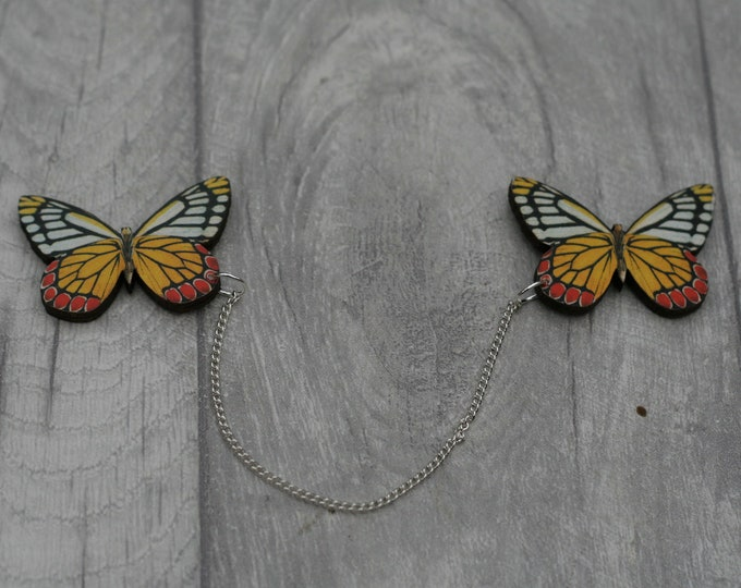 Yellow Butterfly Collar Clips, Wooden Butterfly Accessory, Butterfly Illustration, Animal Brooch, Woodland, Wood Jewelry