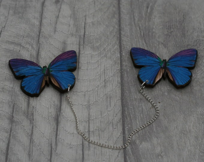 Blue and Purple Butterfly Collar Clips, Wooden Butterfly Accessory, Butterfly Illustration, Animal Brooch, Woodland, Wood Jewelry