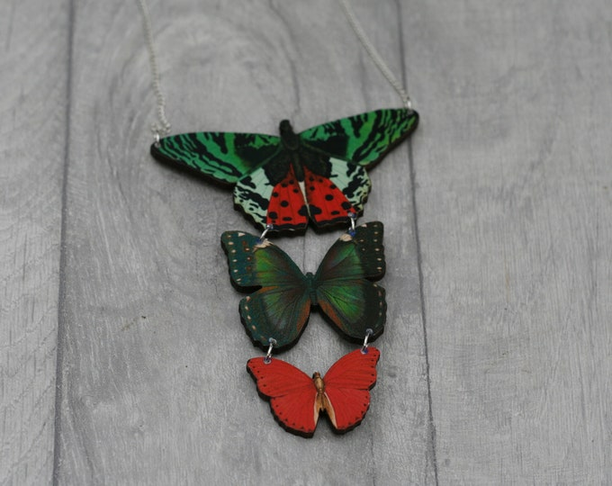 Red and Green Butterfly Necklace, Statement Necklace, Wood Pendant, Red and Green Butterfly Illustration, Woodland, Animal Necklace