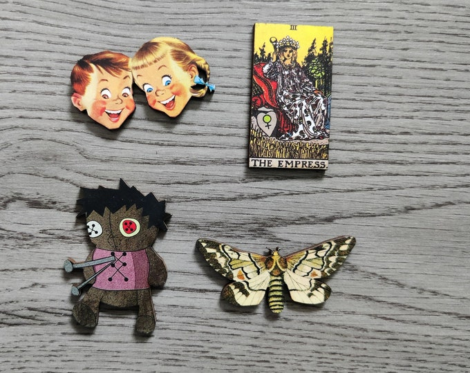 4 x Wooden Brooches - Moth, Doll, Tarot Card
