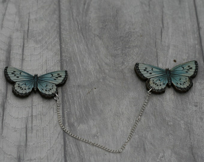 Blue Butterfly Collar Clips, Wooden Butterfly Accessory, Butterfly Illustration, Animal Brooch, Woodland, Wood Jewelry