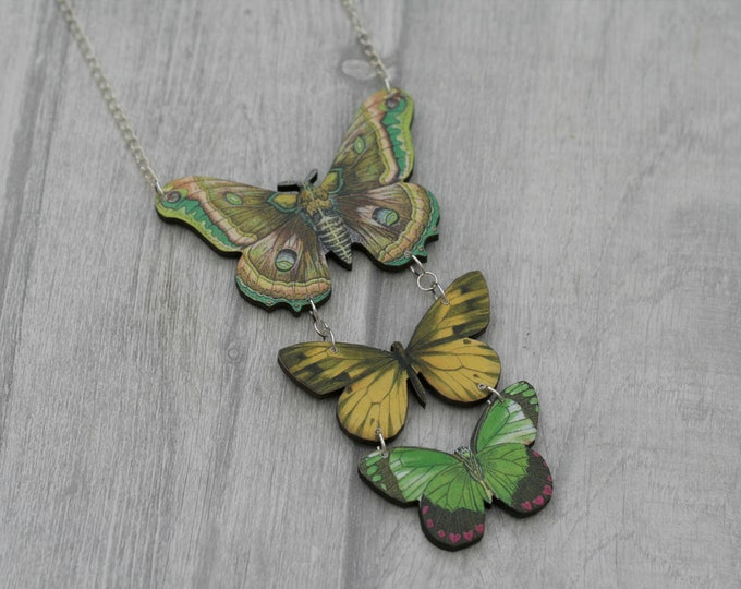Green Butterfly Necklace, Statement Necklace, Wood Pendant, Green Butterfly Illustration, Woodland, Animal Necklace