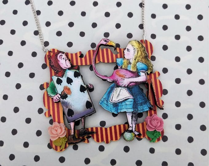 Alice in Wonderland Necklace, Alice & Playing Card Necklace, Tenniel Illustration, Statement Necklace, Altered Art, Mixed Media