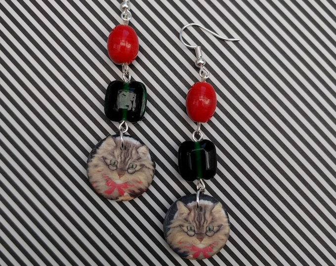 Red and Green Cat Statement Earrings, Animal Jewelry