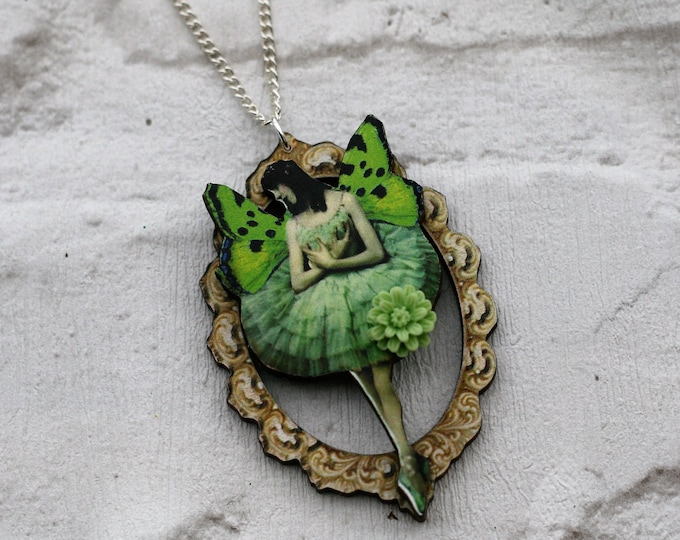 Green Fairy Necklace, Pixie Pendant, Illustration Jewelry, Wood Jewelry