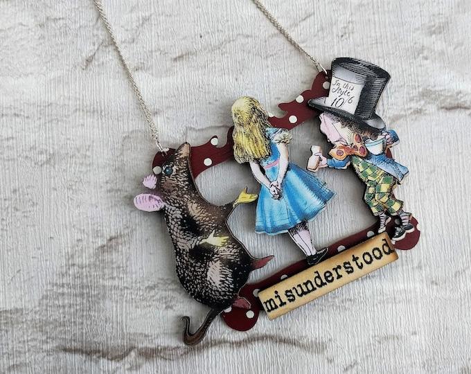 Alice in Wonderland Necklace, Alice/Mad Hatter/Rat Necklace, Tenniel Illustration, Statement Necklace, Altered Art, Mixed Media