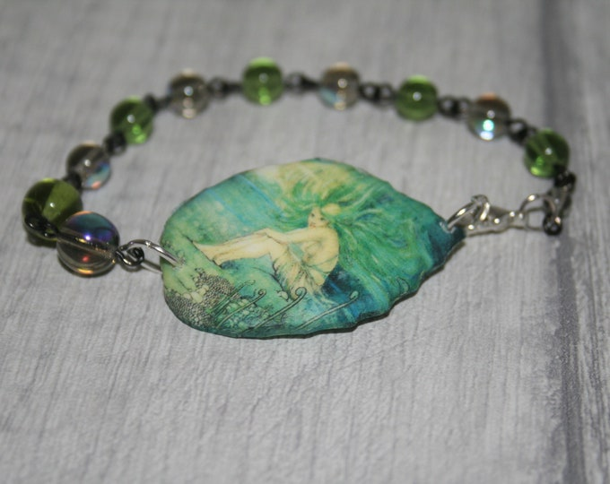 Green Mermaid Bracelet, Mermaid Bracelet, Mermaid Bar Bracelet