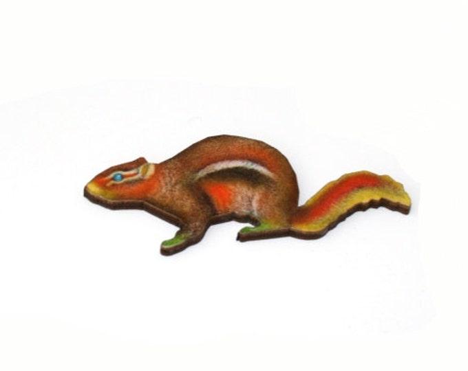 Red Squirrel  Brooch, Woodland Squirrel Illustration, Wood Jewelry, Animal Brooch