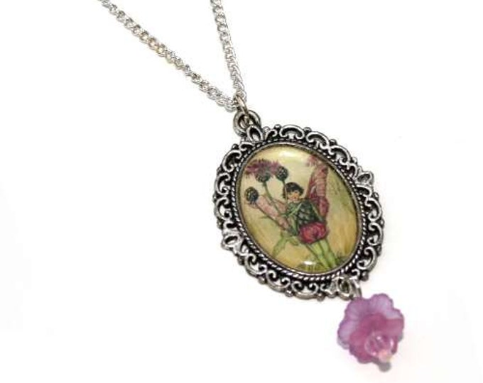 Flower Fairy Necklace, Pink Fairy Cameo, Faerie Illustration