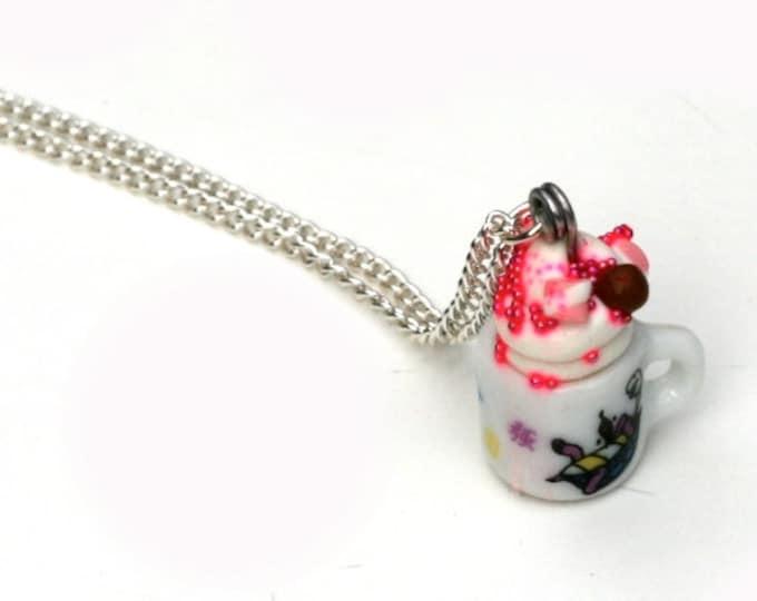 Hot Chocolate Necklace, Miniature Tea cup necklace, Afternoon Tea