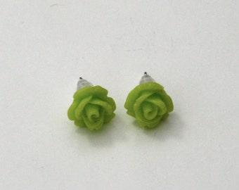 Green Flower Earrings, Flower Stud Earrings