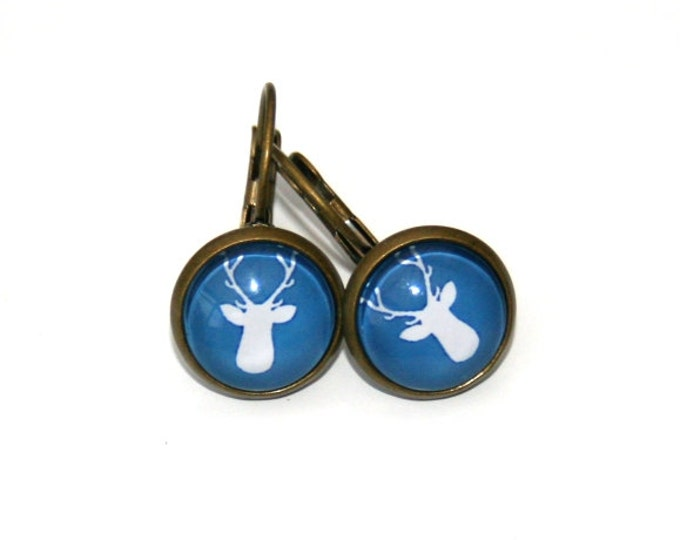 Stag's Head Earrings, Deer Illustration Dangle Earrings