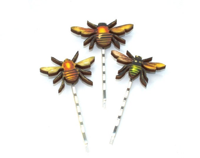 Wooden Bee Bobby Pins, Honeybee Hair Grips, Girls Hair Accessory, Set of Three