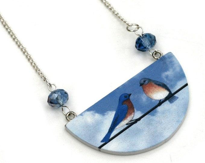 Bird Necklace, Wooden Semi Circle Bib necklace, Love birds Necklace, Blue bird necklace, statement jewelry
