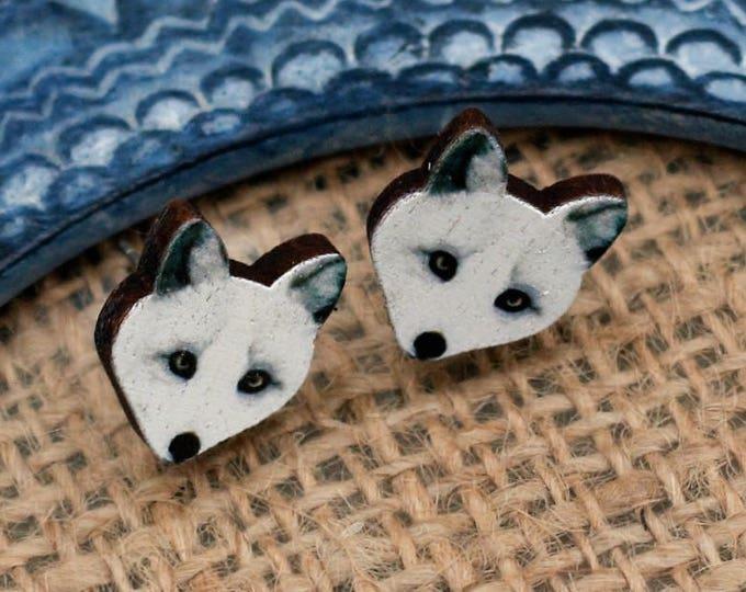 White Fox Earrings, Wooden Fox Stud Earrings, Animal Earrings, Fox Jewelry