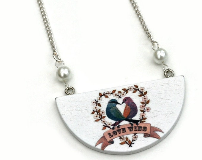 Bird Necklace, Wooden Semi Circle Bib necklace, Love birds Necklace, Valentine's gift, statement jewelry