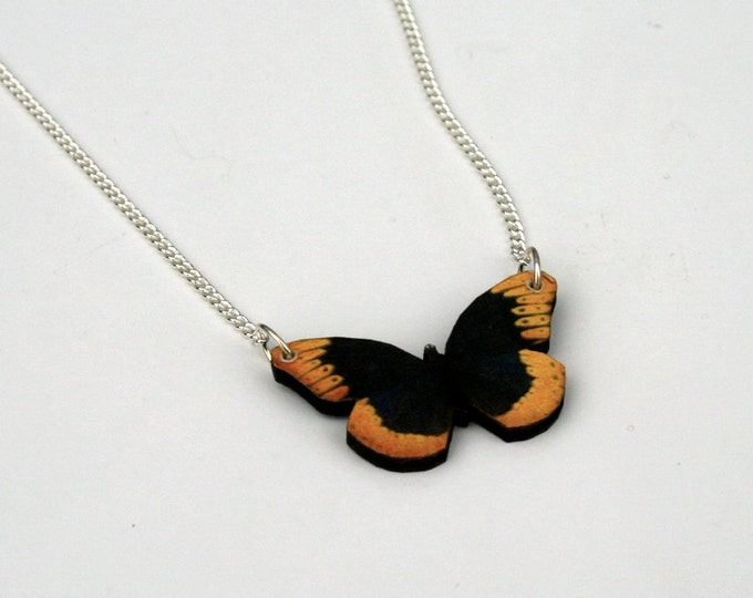 Yellow and Black Butterfly Necklace, Wooden Butterfly, Illustration Pendant, Animal Necklace, Wood Jewelry