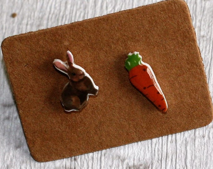 Rabbit and Carrot Earrings, Teeny Tiny Earrings, Mismatched Earrings, Animal Jewelry, Cute Earrings
