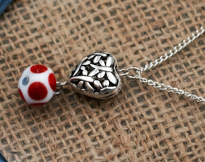Metal Heart Necklace, Red Polka Dot Heart Necklace, Lampwork Bead Pendant