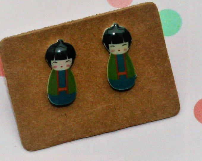 Green Kokeshi Doll Earrings, Teeny Tiny Earrings, Japanese Doll Jewelry, Cute Earrings