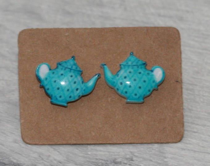 Blue Teapot Earrings, Teeny Tiny Earrings, Afternoon Tea Jewelry, Cute Earrings