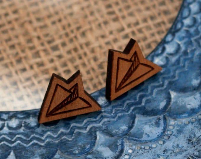 Paper Aeroplane Earrings, Wooden Aeroplane Earrings
