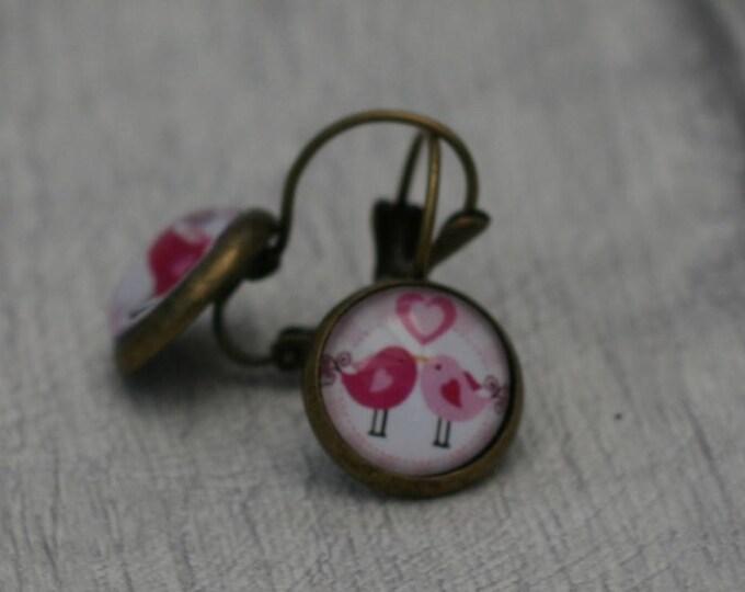 Pink Bird Earrings, Bird Illustration, Dangle Earrings