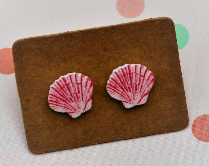 Pink Shell Earrings, Teeny Tiny Earrings, Seaside Jewelry, Cute Earrings