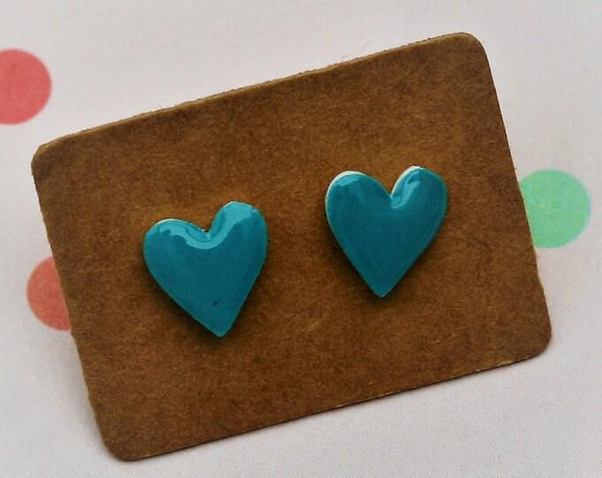 Blue Heart Earrings, Teeny Tiny Earrings, Blue Heart Jewelry, Cute Earrings