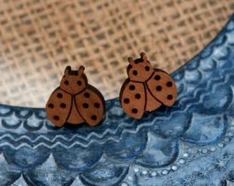 Ladybird Earrings, Wooden Ladybug Stud Earrings