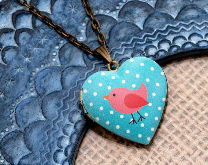 Pink Bird Locket Necklace, Bird Necklace, Heart Locket Pendant, Pink Bird Jewelry