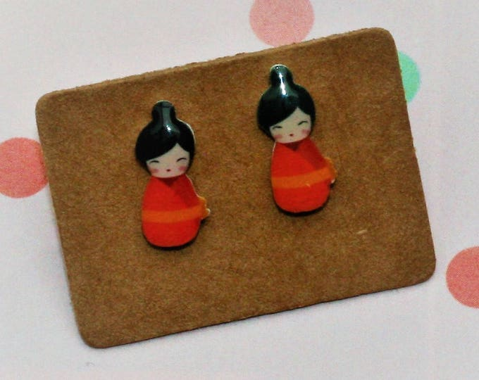 Orange Kokeshi Doll Earrings, Teeny Tiny Earrings, Japanese Doll Jewelry, Cute Earrings