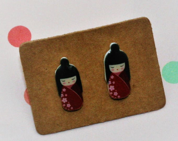 Red Kokeshi Doll Earrings, Teeny Tiny Earrings, Japanese Doll Jewelry, Cute Earrings
