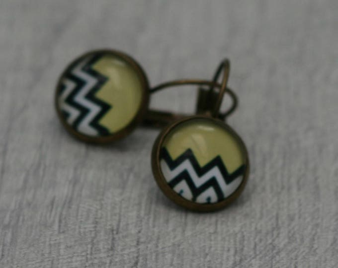 Geometric Earrings, Chevron Illustration Dangle Earrings, Geometric Jewelry