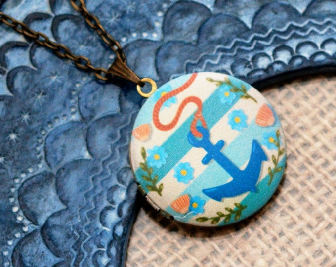 Anchor Locket Necklace, Nautical Necklace, Anchor Pendant, Nautical Jewelry, Blue Anchor Locket